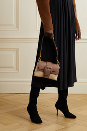 Oroton Frida mini leather-trimmed raffia shoulder bag
