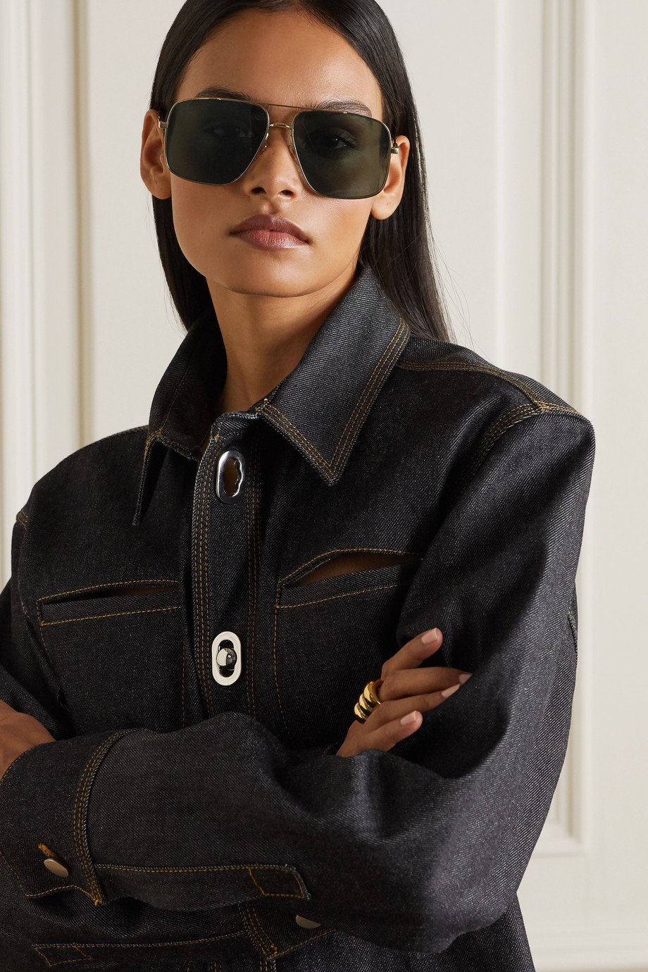 Givenchy Goldfarbene Pilotensonnenbrille mit Details aus Azetat in Hornoptik