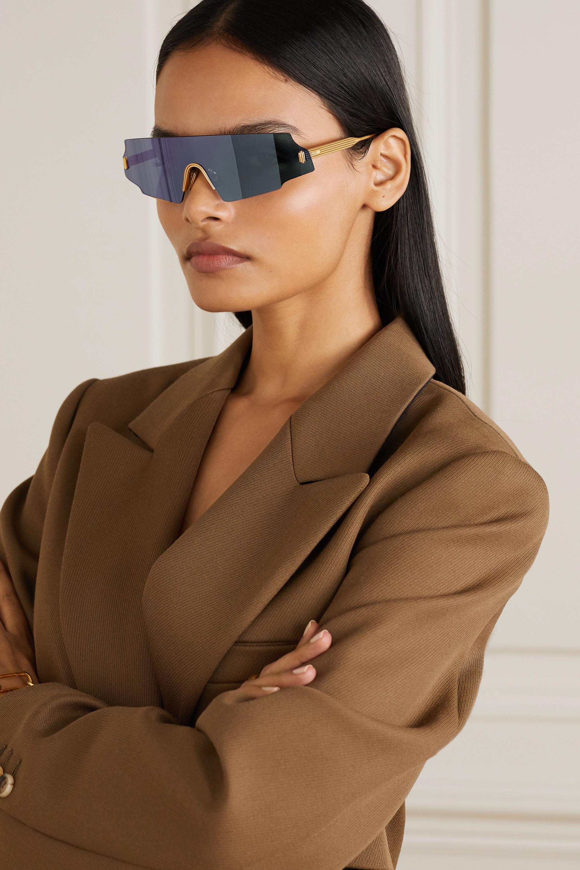 Fendi D-frame rose gold-tone sunglasses