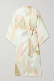 Love Stories Patchouli belted printed satin robe