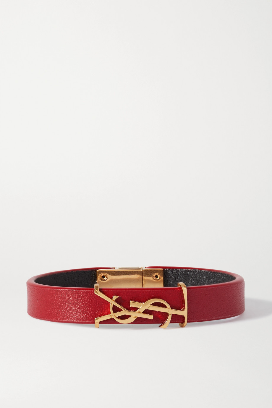SAINT LAURENT Leather and gold-tone bracelet