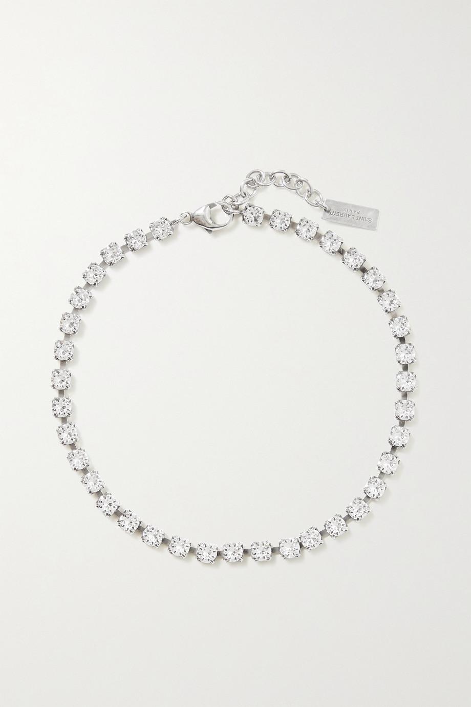SAINT LAURENT Silver-tone crystal bracelet