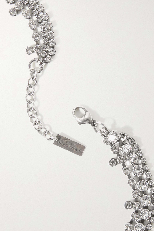 SAINT LAURENT Collier en métal argenté à cristaux
