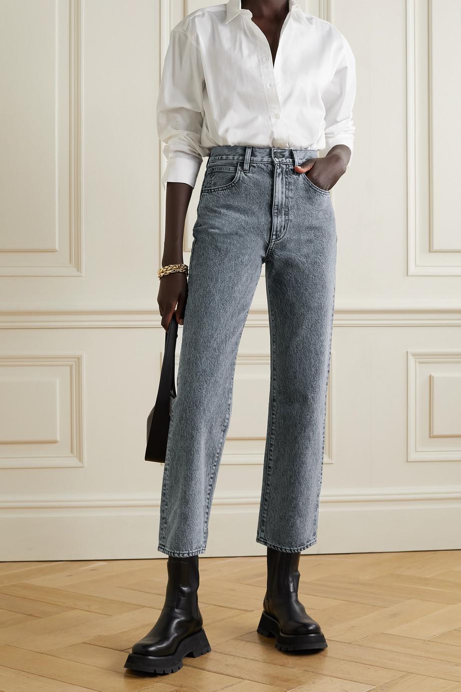 SLVRLAKE London 高腰九分直筒牛仔裤