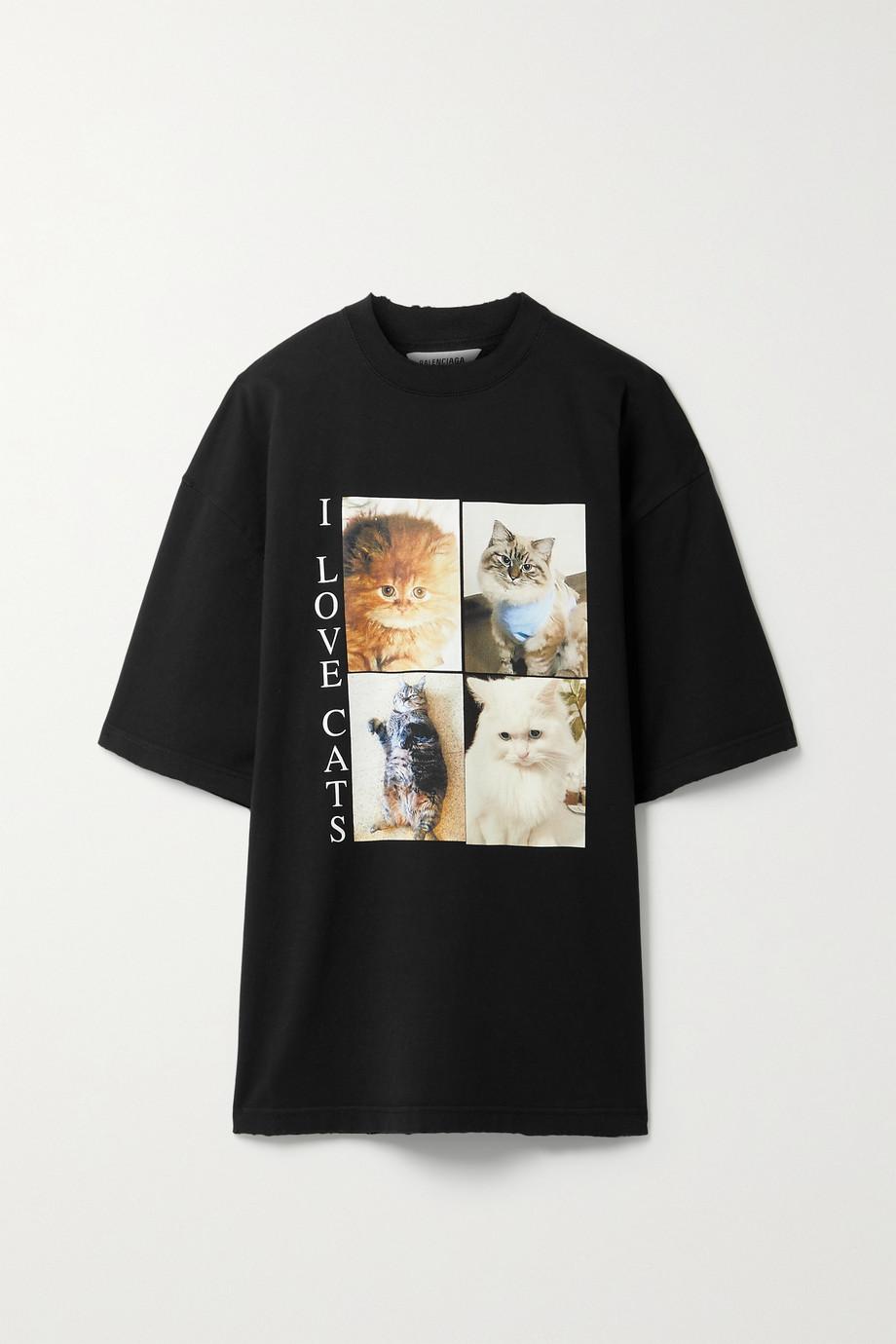 Balenciaga Oversized printed cotton-jersey T-shirt