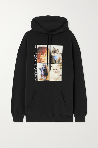 Balenciaga Cottons OVERSIZED DISTRESSED PRINTED COTTON-JERSEY HOODIE