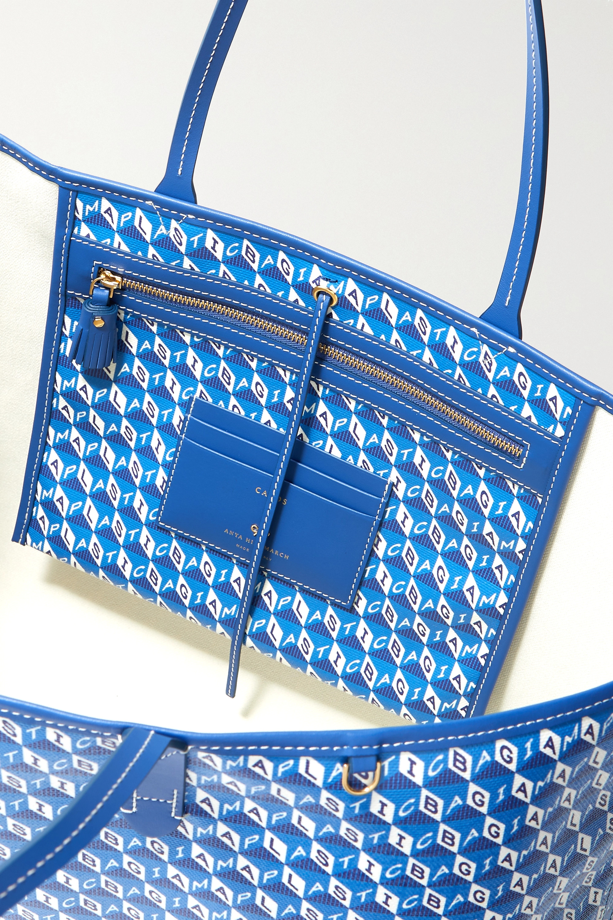 Anya Hindmarch I Am A Plastic Bag leather-trimmed printed coated-canvas tote