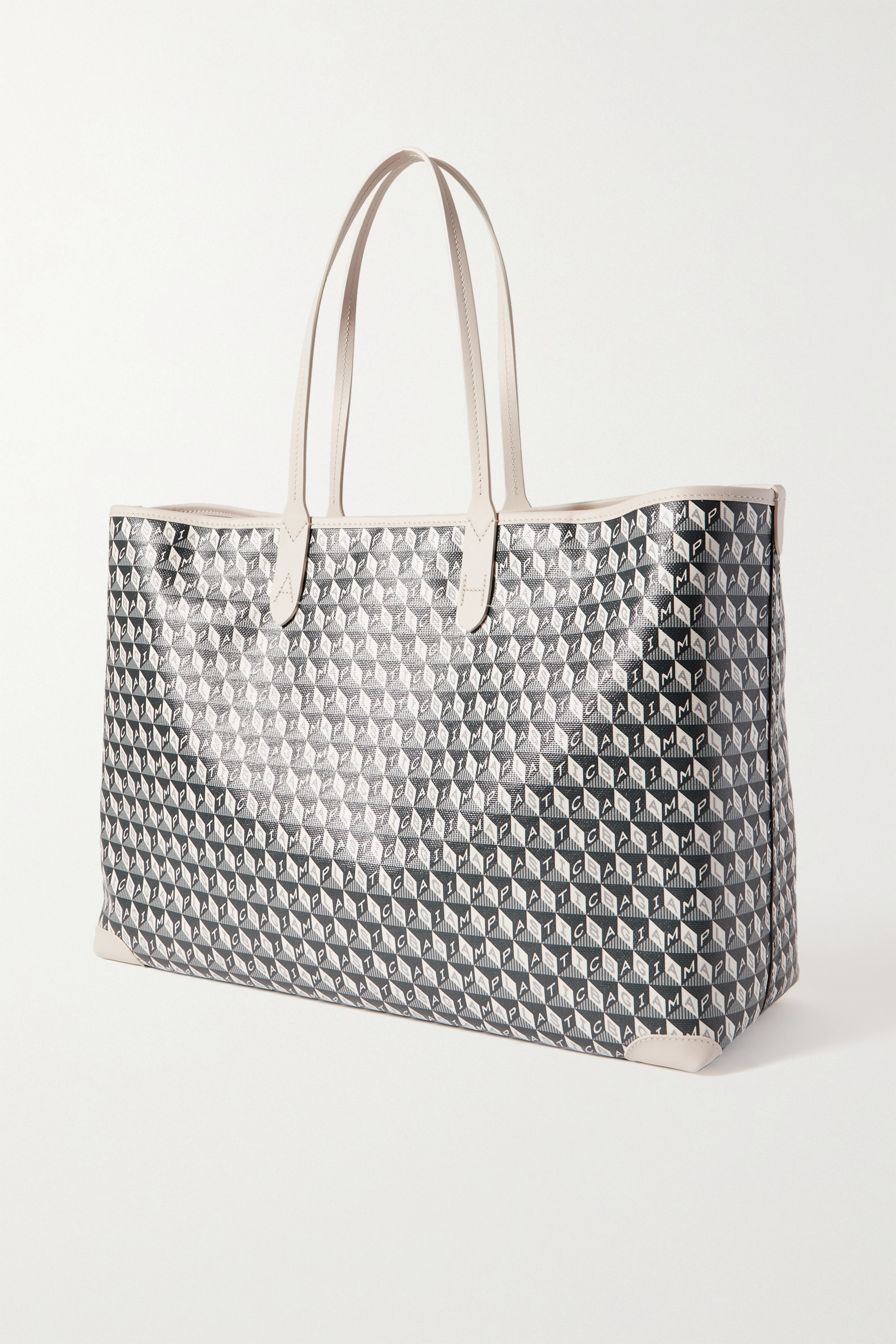 Anya Hindmarch I Am A Plastic Bag appliquéd leather-trimmed printed coated-canvas tote