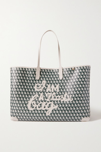 Anya Hindmarch Leathers I AM A PLASTIC BAG APPLIQUÉD LEATHER-TRIMMED PRINTED COATED-CANVAS TOTE