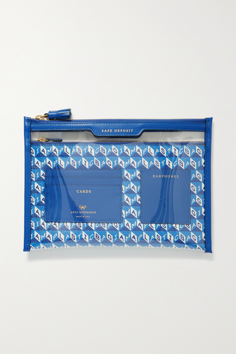 Anya Hindmarch Safe Deposit Beutel aus bedrucktem beschichtetem Canvas und PVC mit Lederbesätzen
