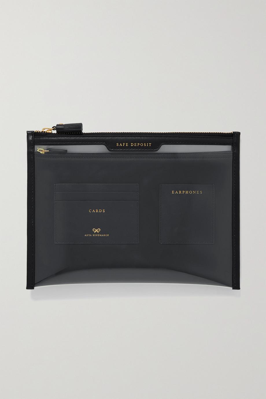 Anya Hindmarch Safe Deposit Beutel aus PVC mit Lederbesätzen