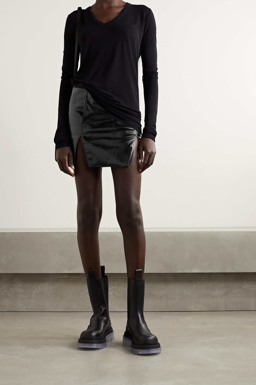 Rick Owens Frayed coated cotton-blend mini skirt