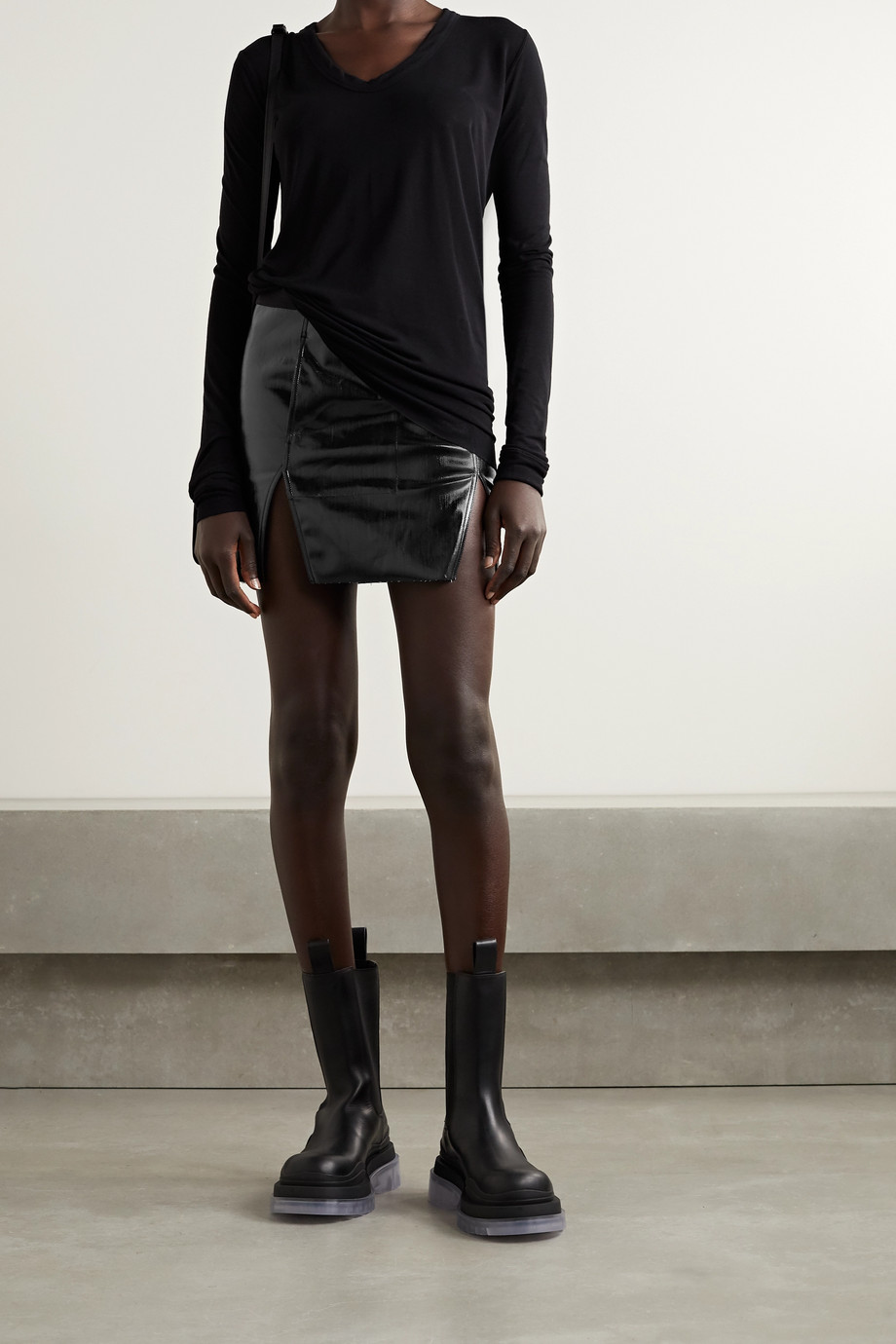 Rick Owens Frayed coated cotton-blend mini skirt