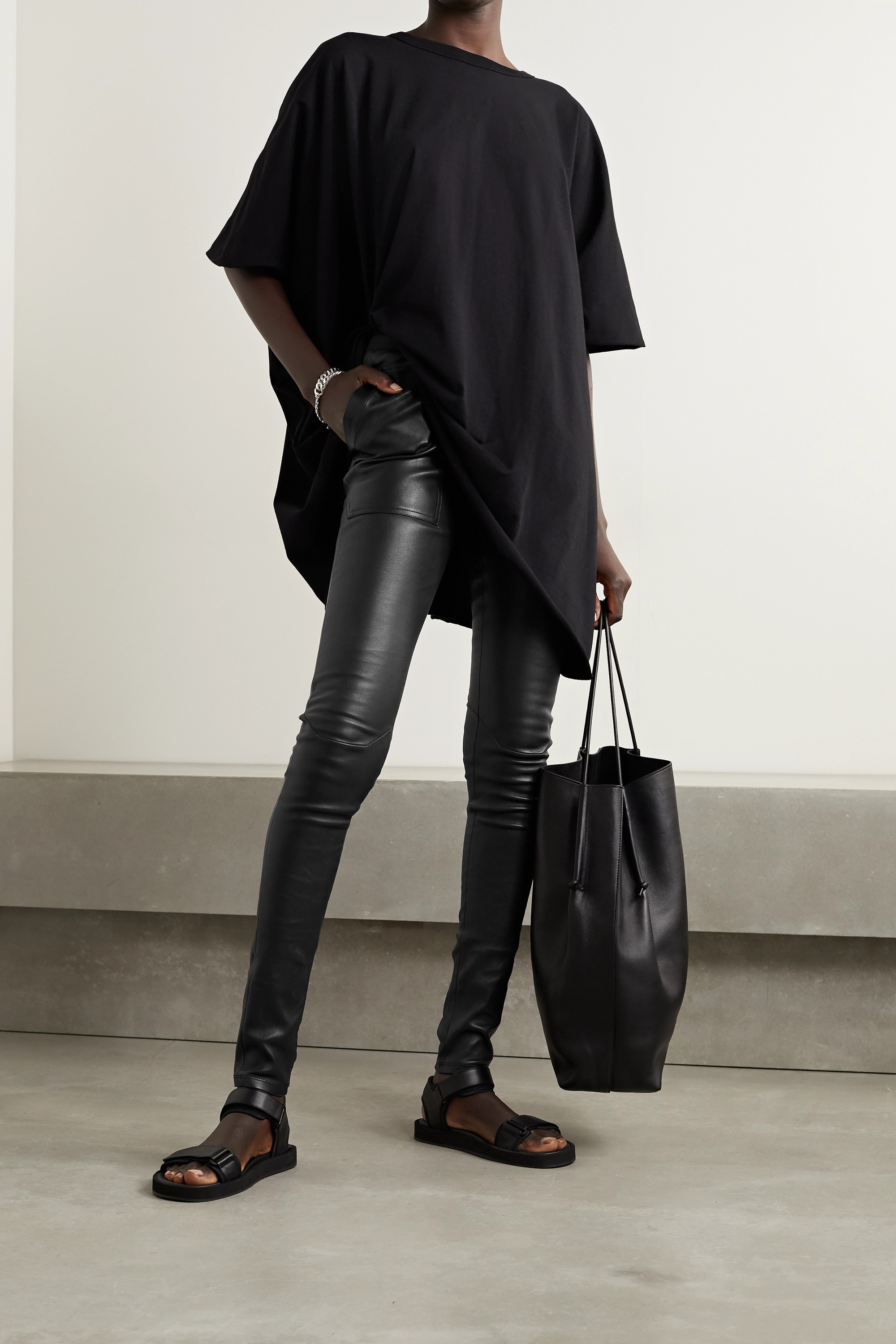 Rick Owens Stretch-leather and cotton-blend leggings