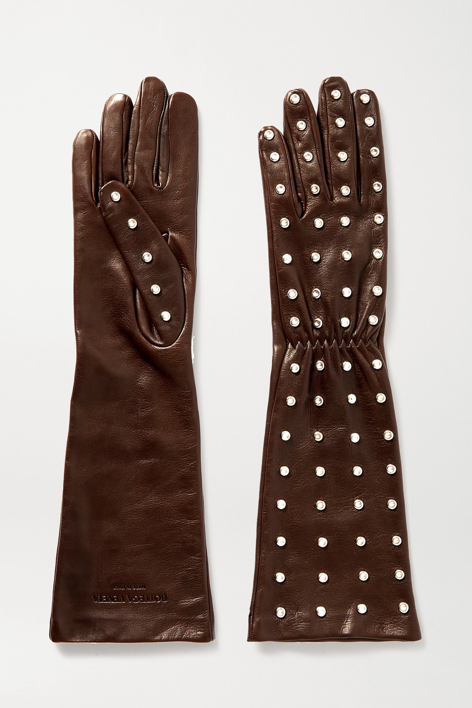 Bottega Veneta Studded leather gloves