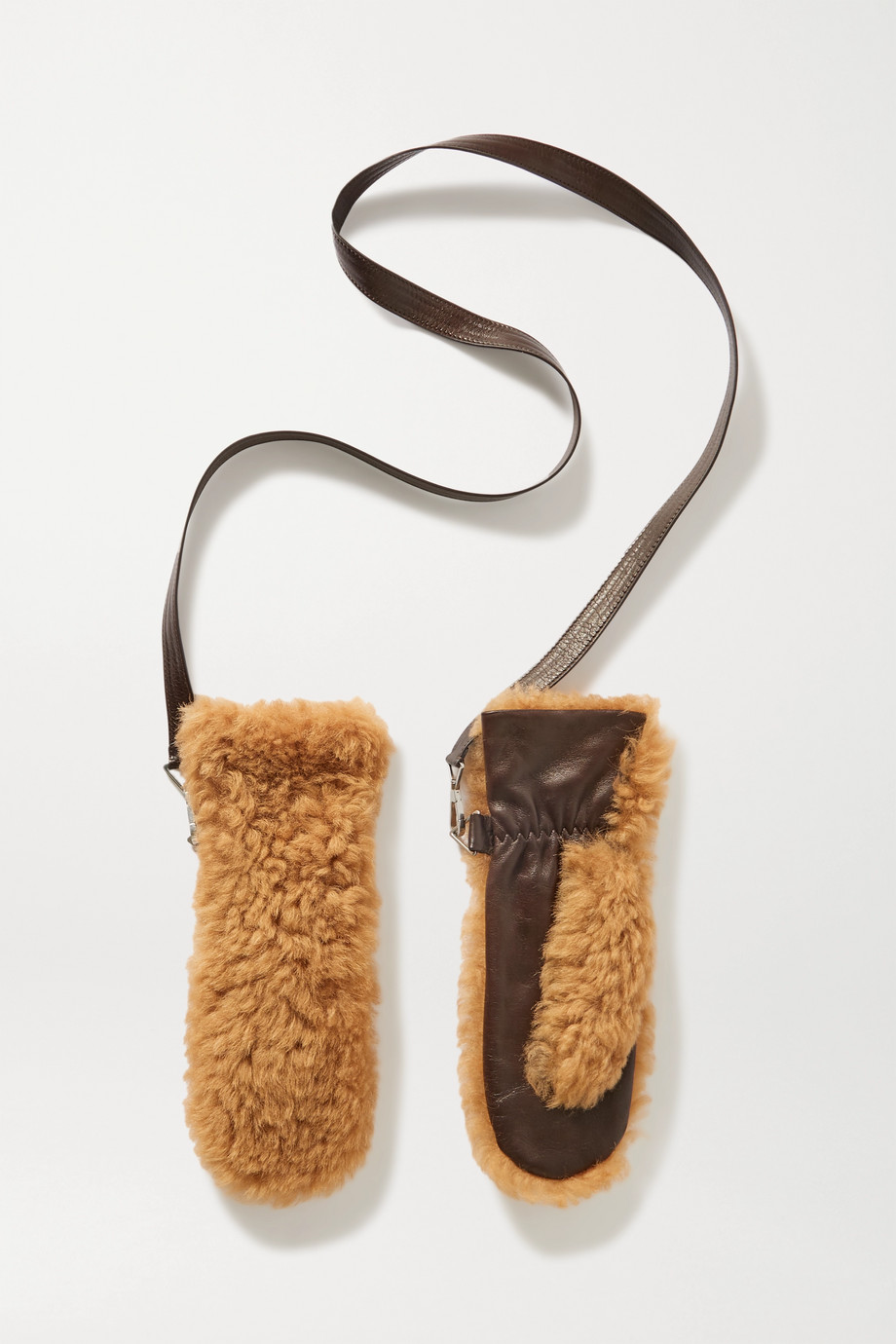 Bottega Veneta Shearling and leather mittens