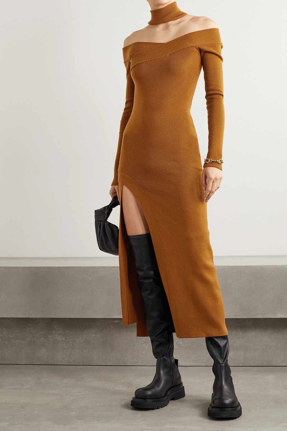 Monse Off-the-shoulder merino wool-blend turtleneck midi dress