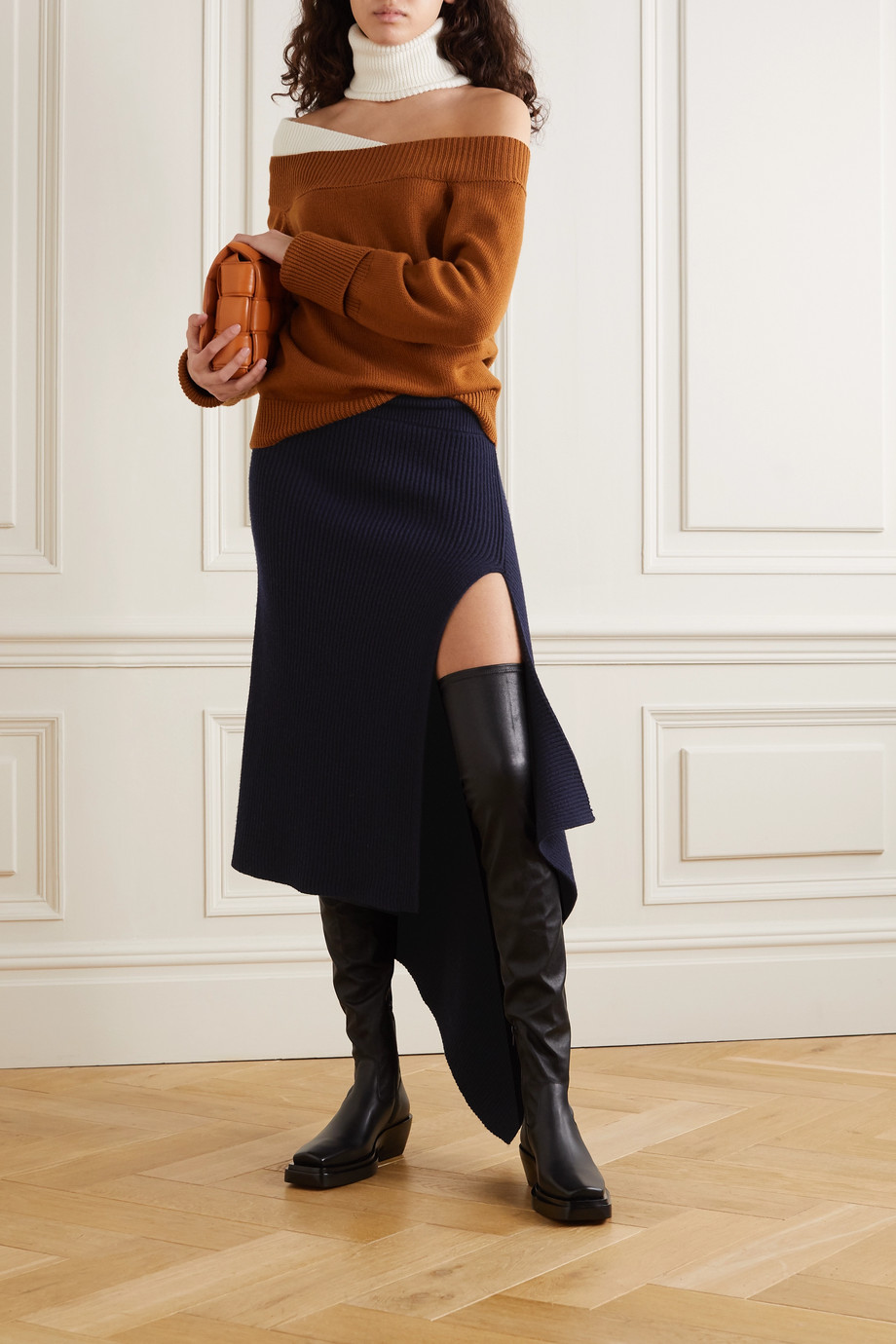 Monse Asymmetric ribbed merino wool skirt