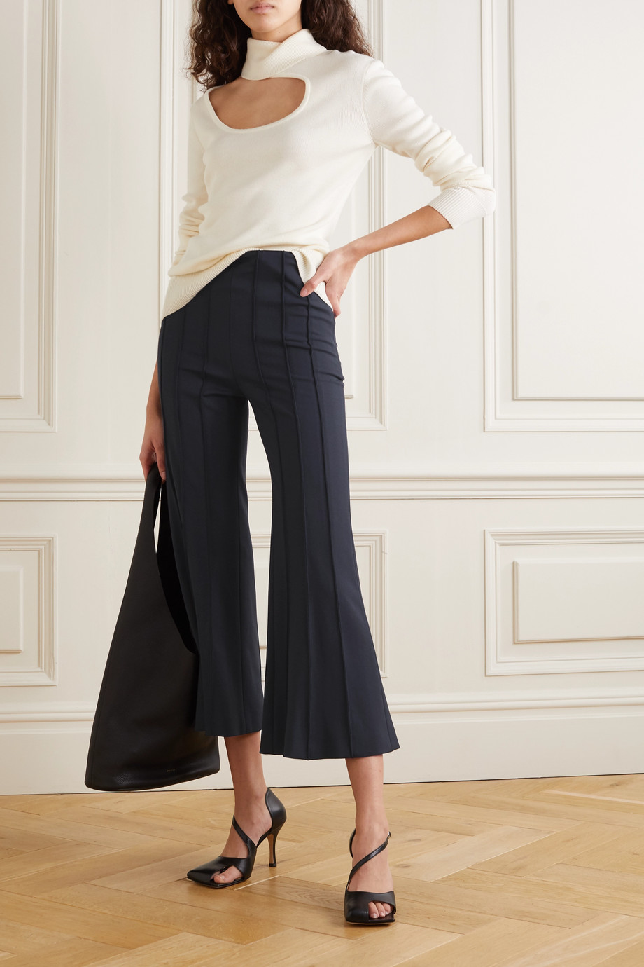 Monse Cropped pintucked wool-blend twill flared pants