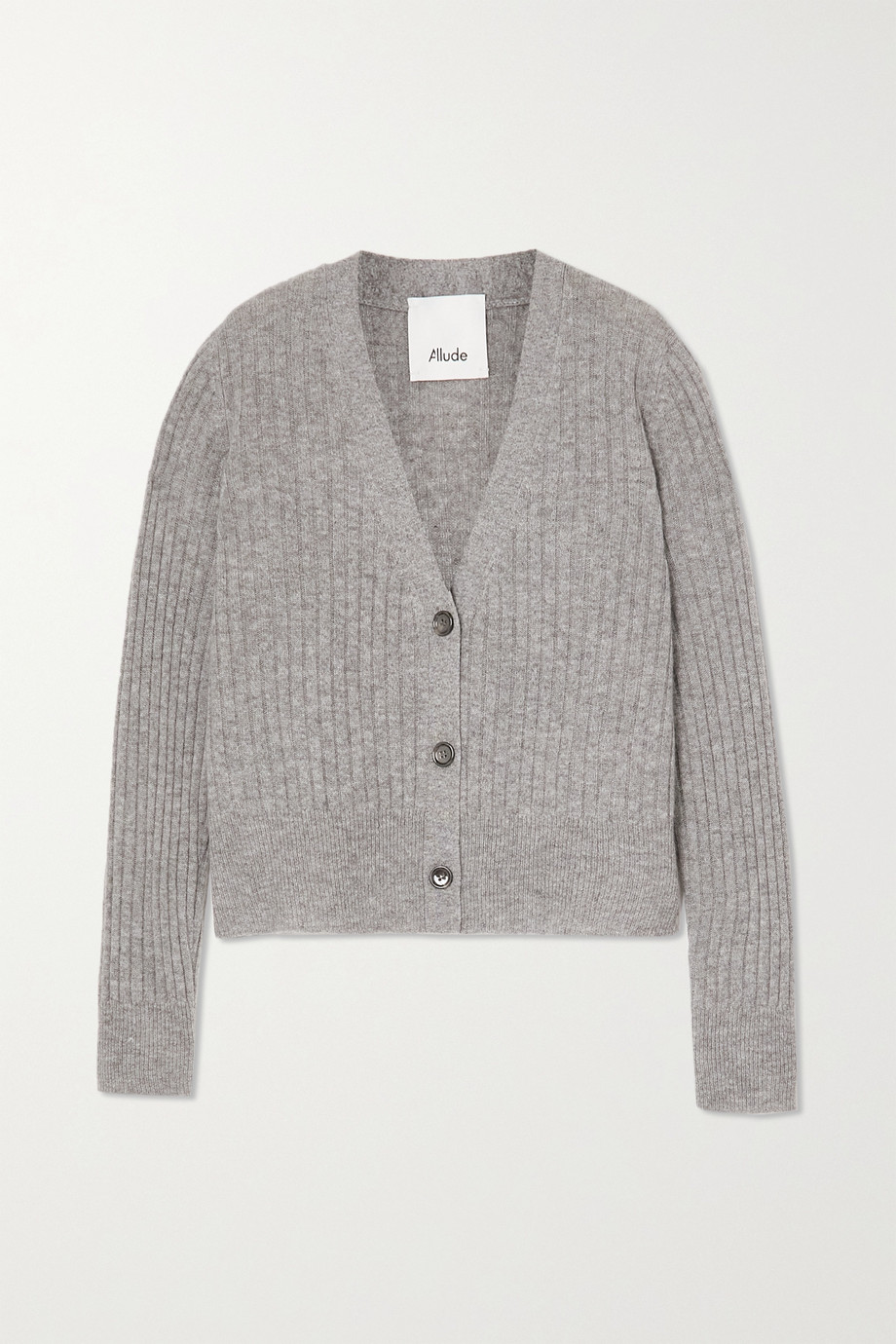 Allude Cropped ribbed cashmere cardigan