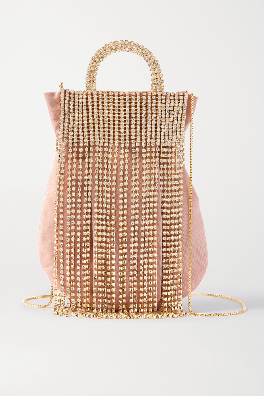 Rosantica Follie Fringes crystal-embellished gold-tone and taffeta tote