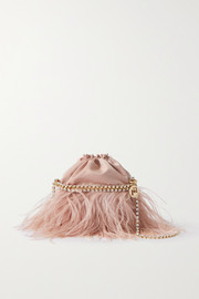 Rosantica Josephine feather and crystal-embellished twill shoulder bag
