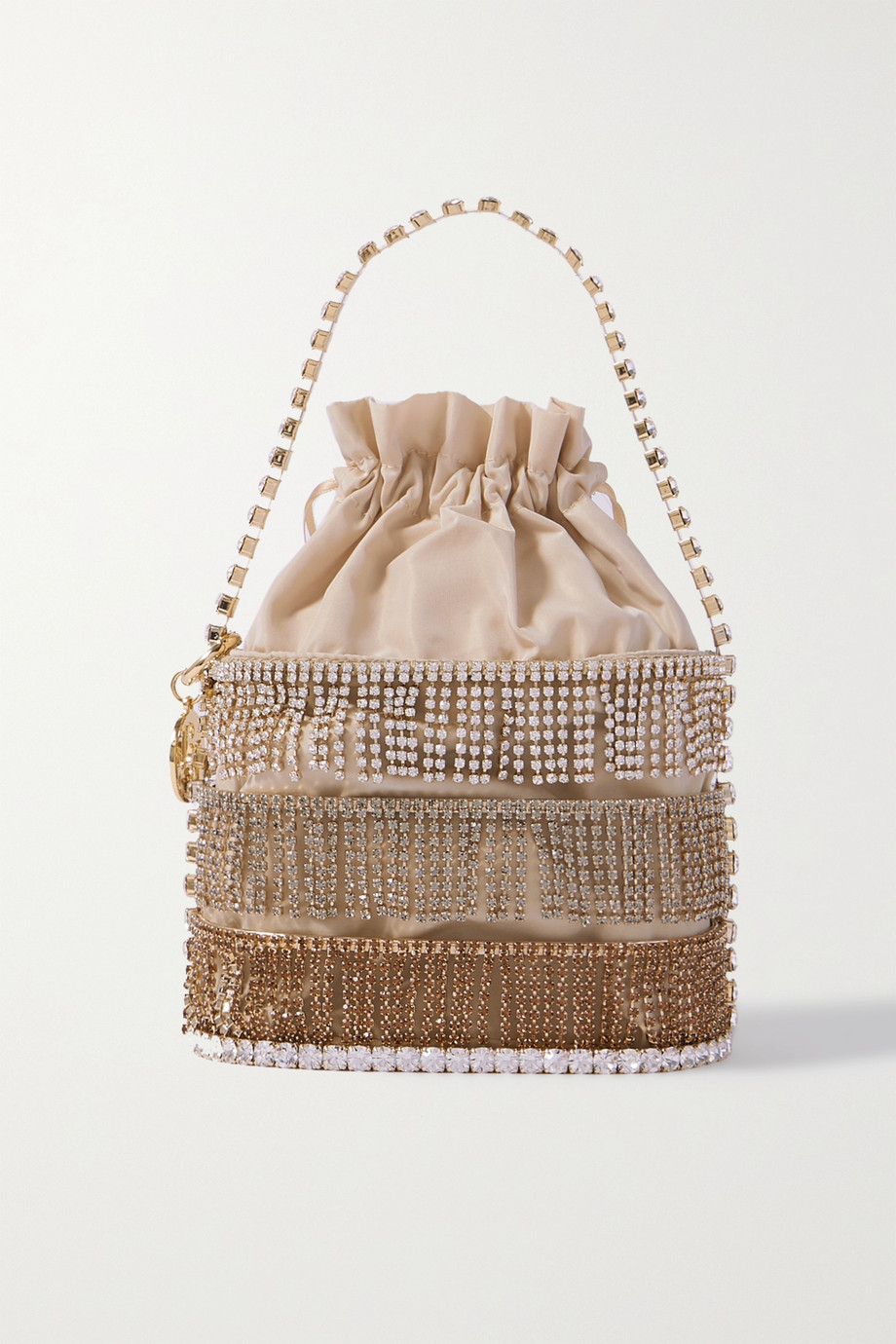 Rosantica Crystal-embellished gold-tone and crepe de chine tote