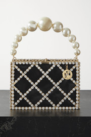 Rosantica Embellished gold-tone and satin tote