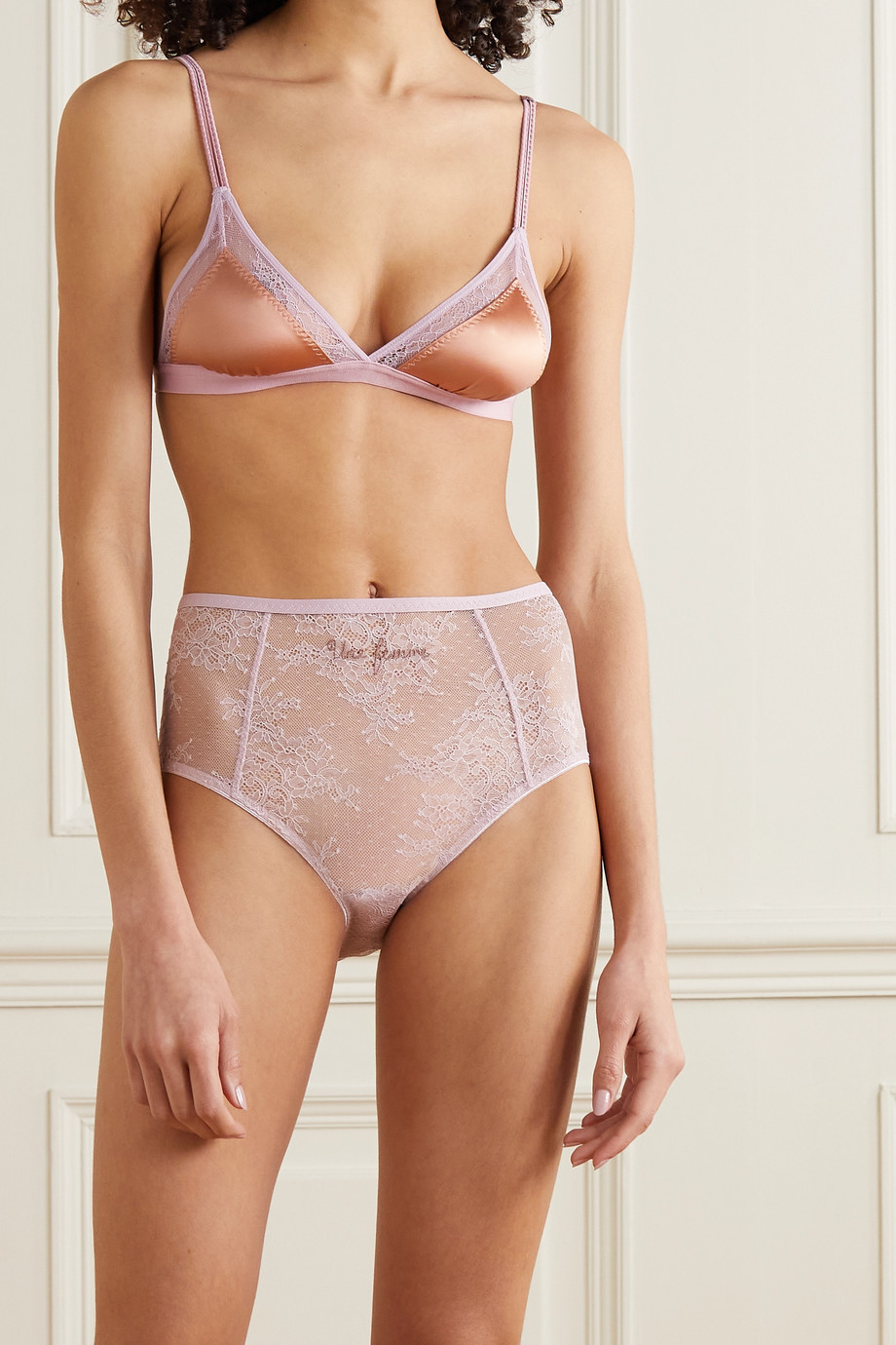 Love Stories Jane M lace-trimmed satin soft-cup bra