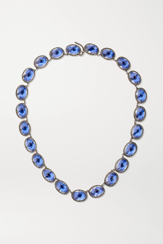 Larkspur & Hawk Lily Rivière rhodium-dipped quartz necklace
