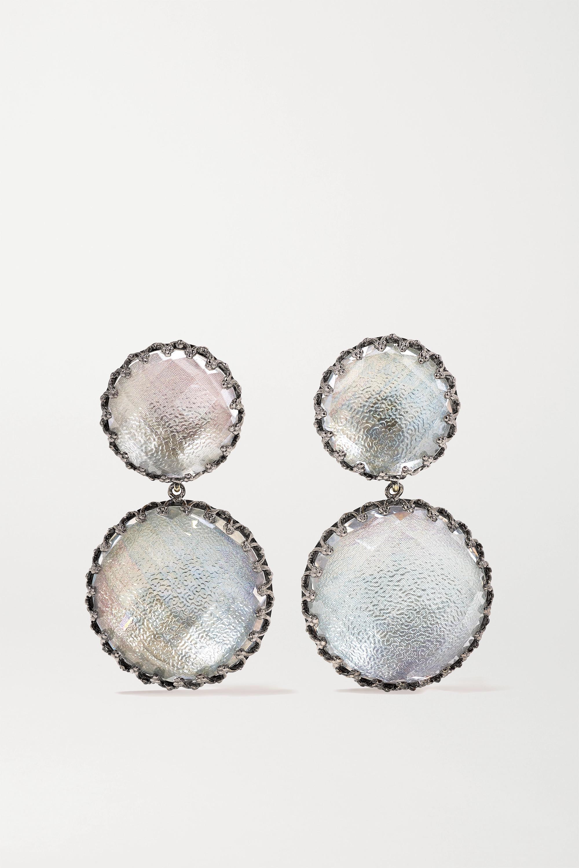 Larkspur & Hawk Olivia Large Day Night rhodium-dipped quartz earrings