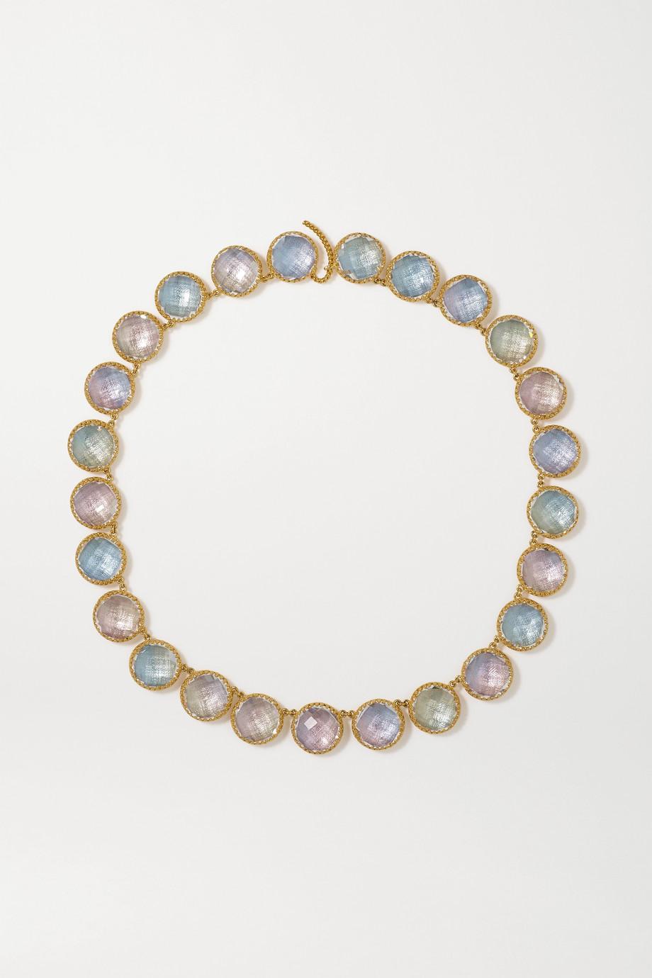 Larkspur & Hawk Olivia Button Rivière 18-karat gold-dipped quartz necklace