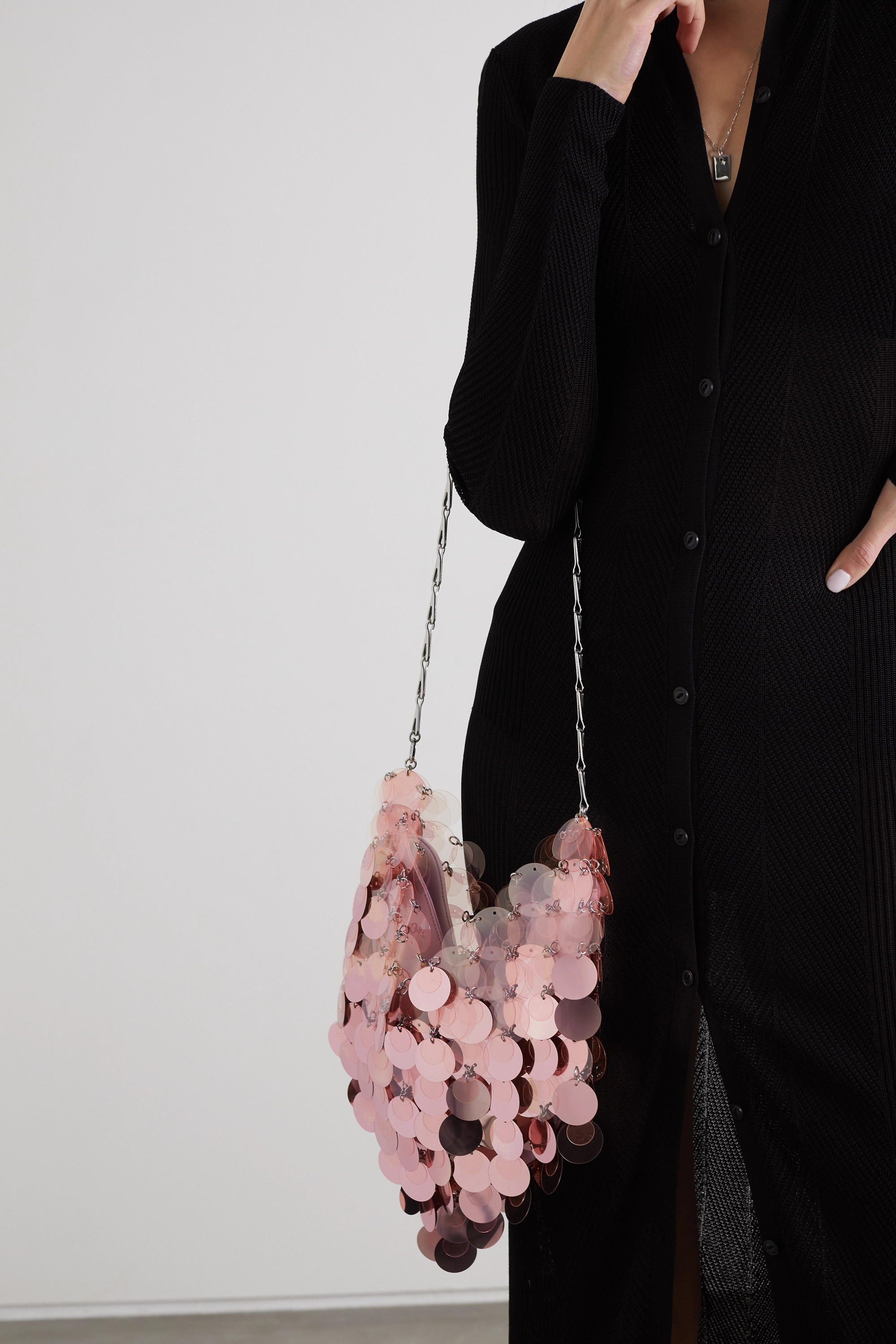 Paco Rabanne Sparkle paillette-embellished faux leather shoulder bag