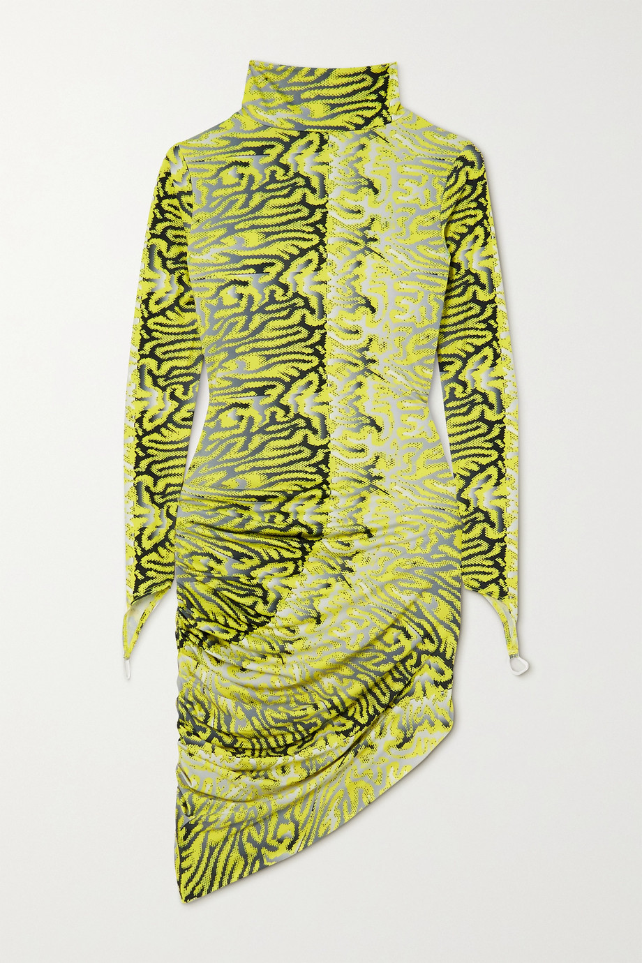 Maisie Wilen Orbit City ruched printed stretch-jersey turtleneck mini dress