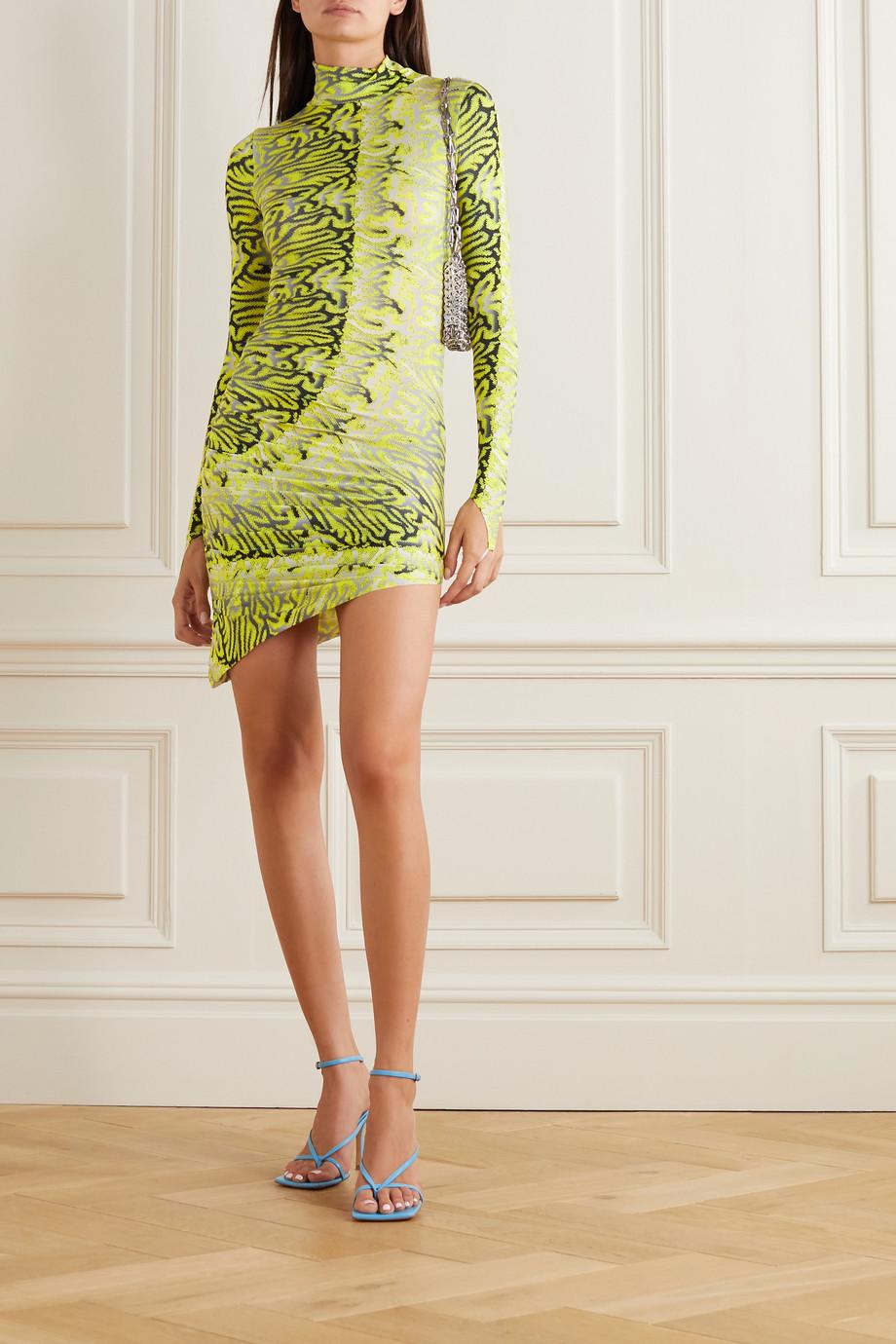 Maisie Wilen Orbit City 褶饰印花弹力平纹布高领迷你连衣裙