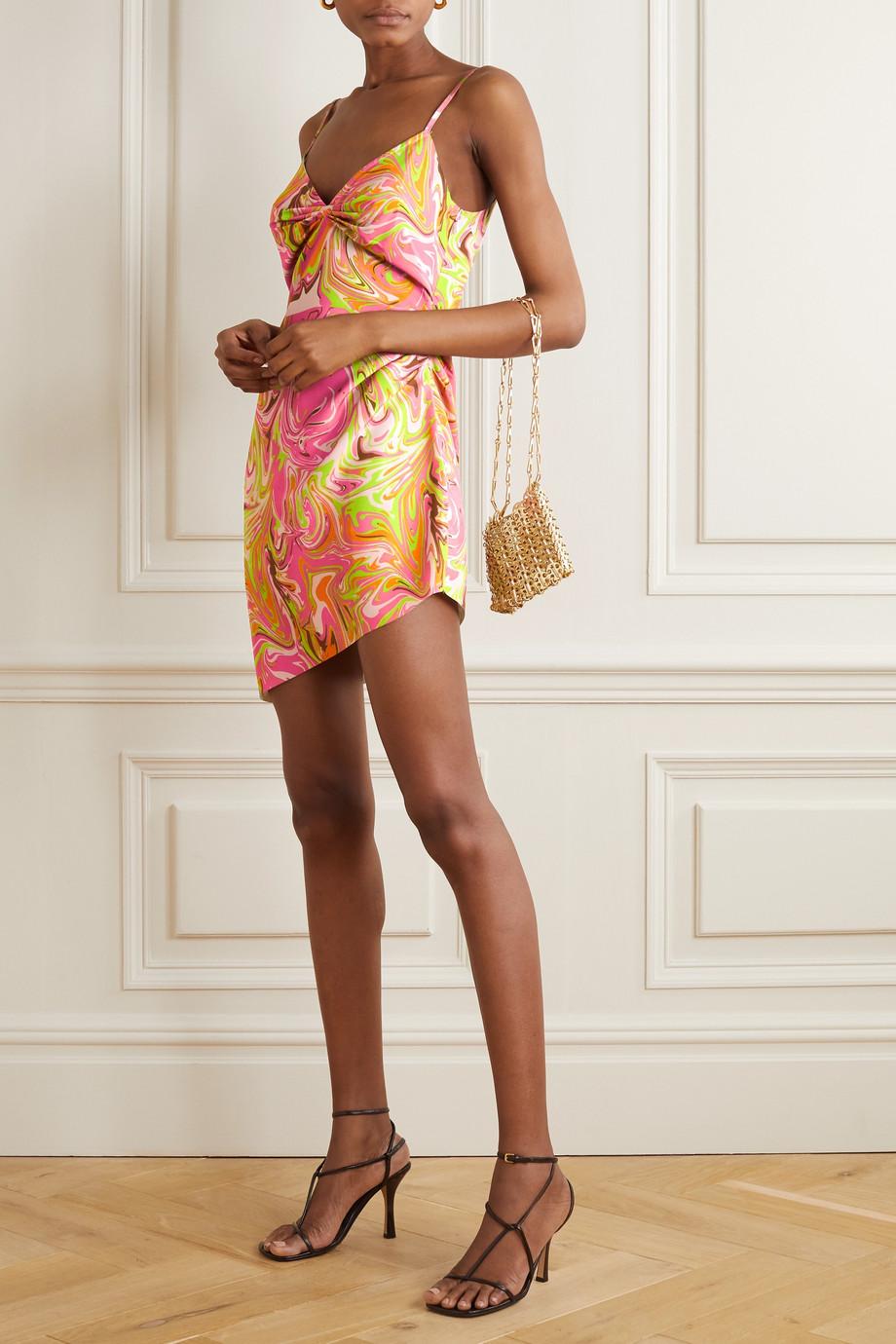 Maisie Wilen Party Girl asymmetric printed crepe mini dress