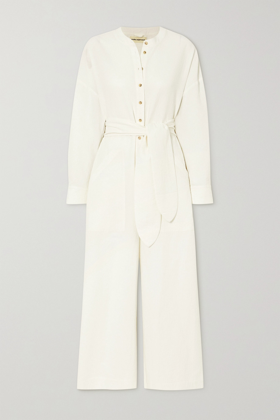 Mara Hoffman + NET SUSTAIN x LG Electronics Mandra belted crinkled organic cotton jumpsuit