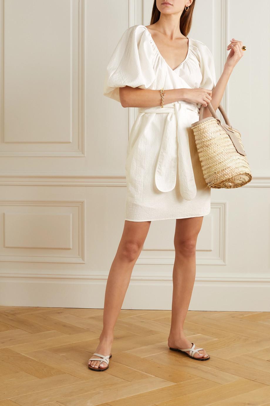 Mara Hoffman Mini-robe portefeuille en coton biologique froissé à ceinture Coletta x LG Electronics - NET SUSTAIN