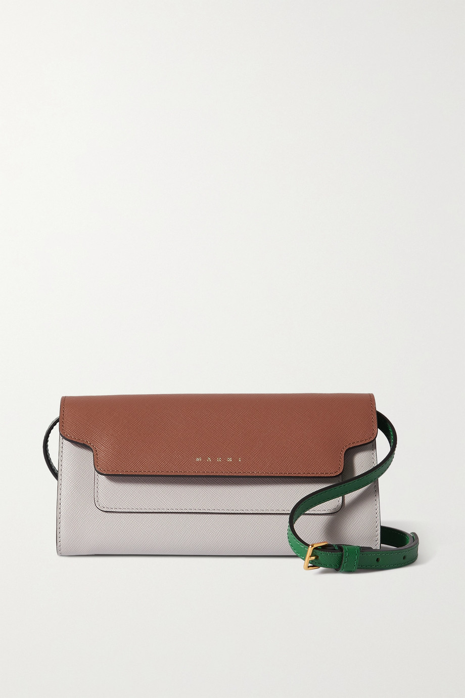 Marni Trunk color-block textured-leather shoulder bag