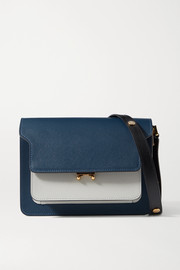 Marni Trunk medium color-block textured-leather shoulder bag