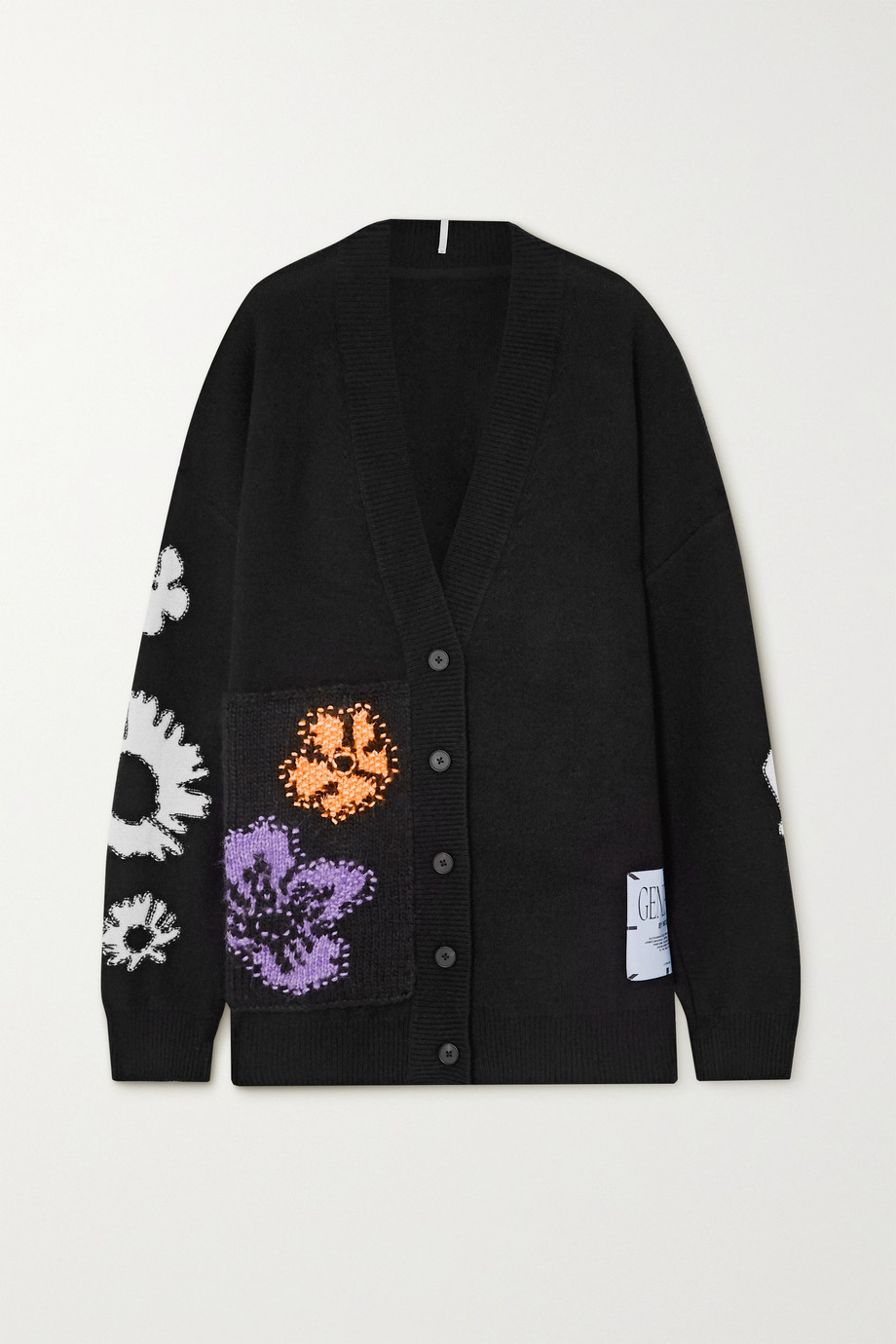 MCQ Oversized appliquéd embroidered wool and cashmere-blend cardigan