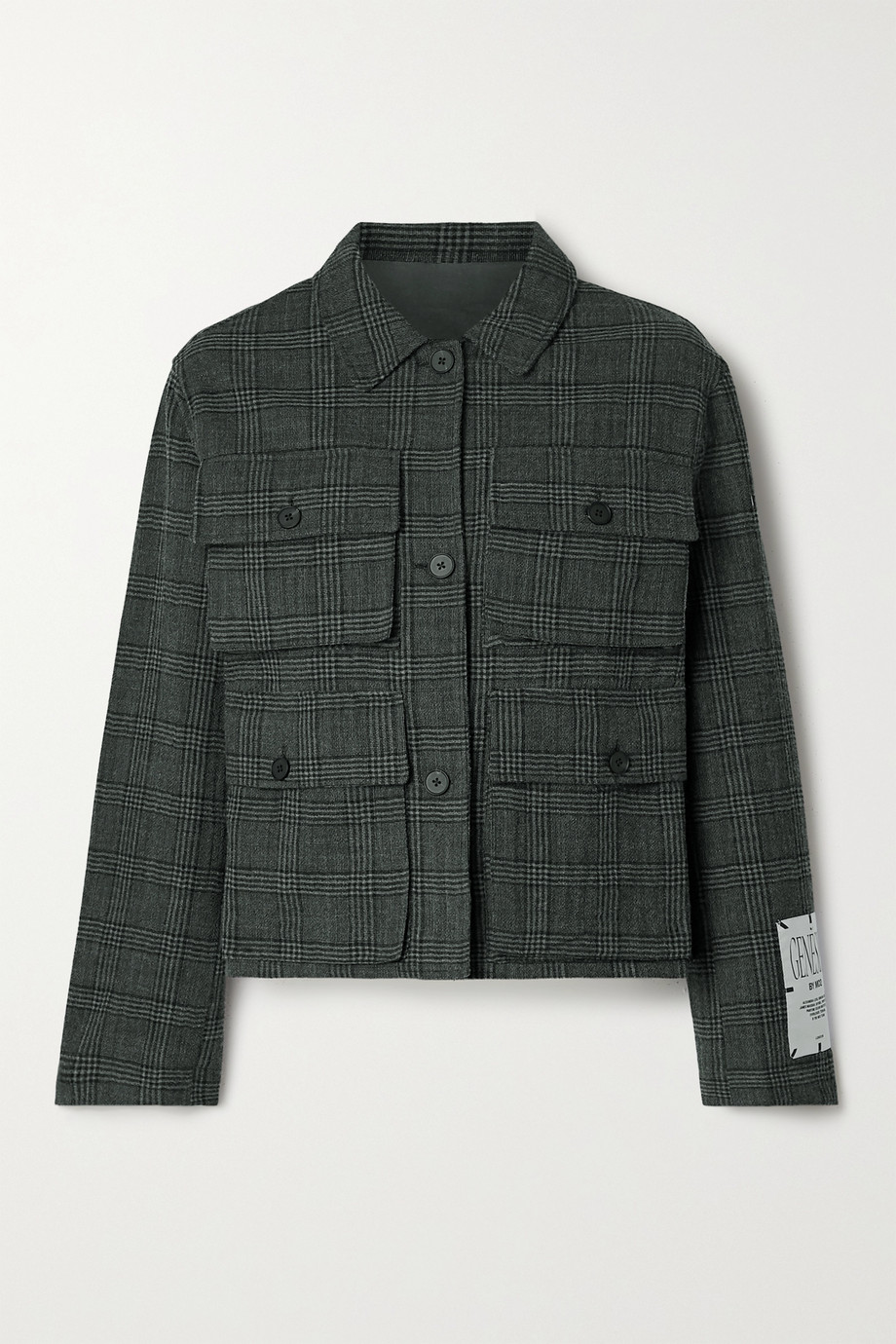 MCQ Checked cotton and wool-blend jacket