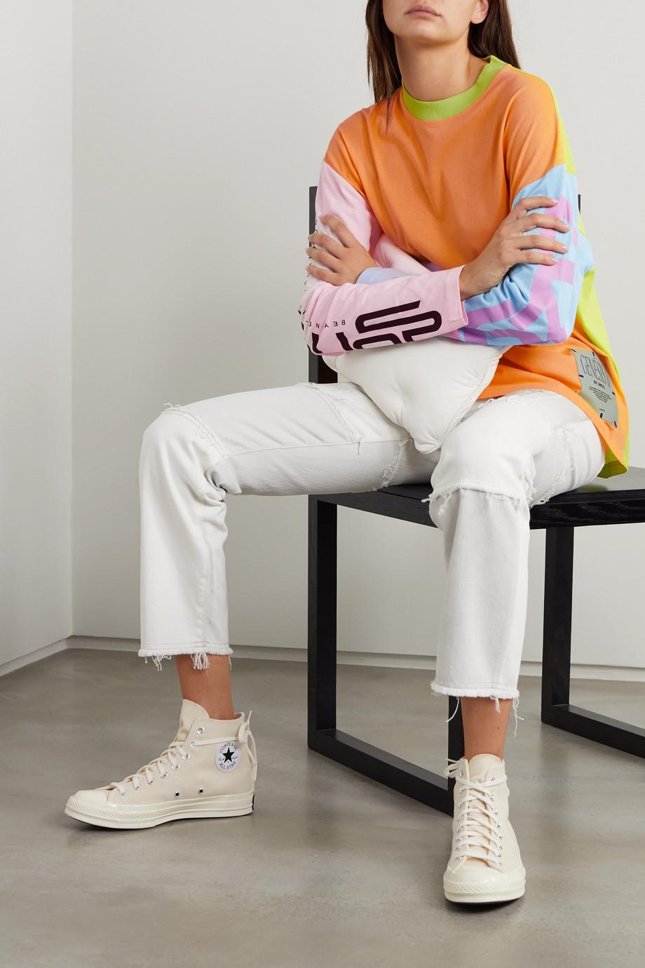 MCQ Appliquéd color-block printed cotton-jersey top