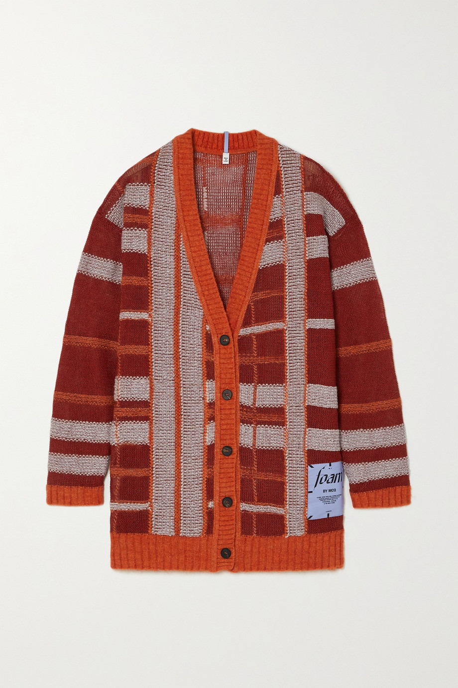MCQ Appliquéd checked linen-blend cardigan