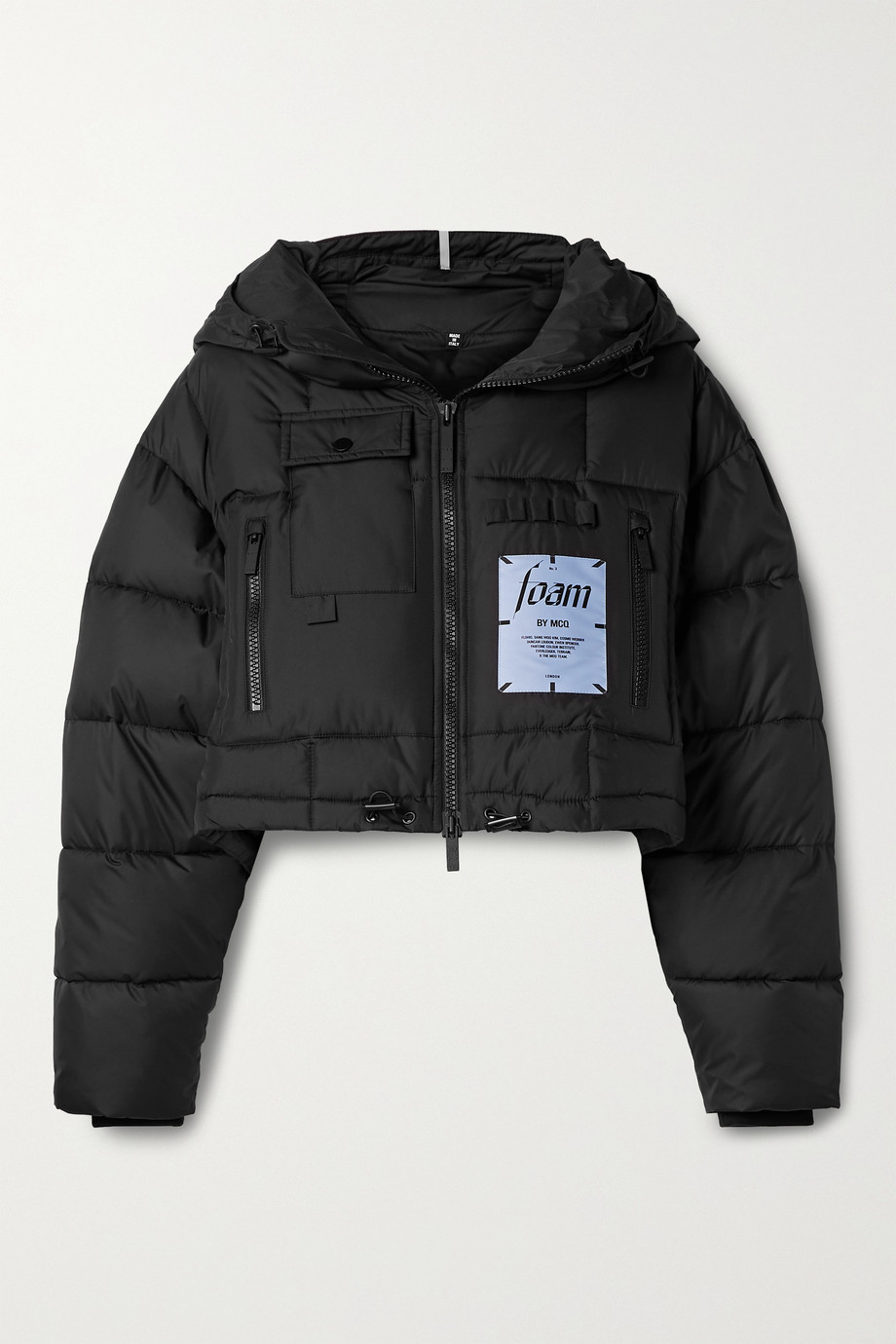 MCQ Festival cropped hooded appliquéd quilted shell jacket