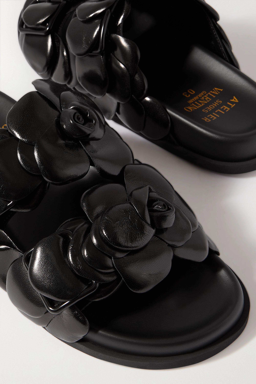 Valentino Sandales en cuir à appliqués Rosa