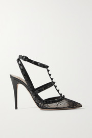 Valentino Valentino Garavani Rockstud 100 leather-trimmed lace pumps