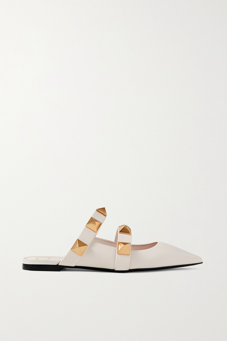 Valentino Valentino Garavani Upstud leather point-toe slippers
