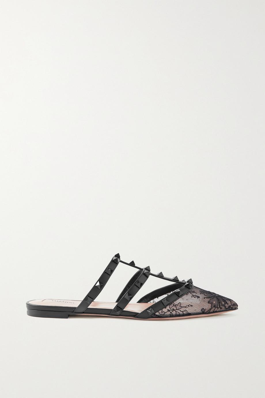Valentino Valentino Garavani Rockstud Slippers aus Spitze mit Lederbesätzen
