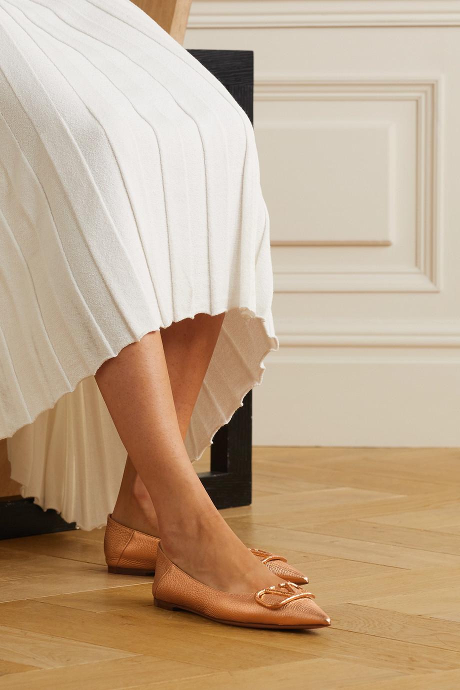Valentino Go Logo Ballerinas aus Leder mit einklappbarer Fersenpartie
